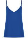 Топ из струящейся ткани на тонких бретелях oodji для женщины (синий), 14911016/48728/7500N