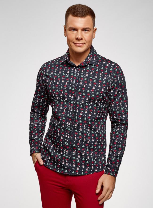 Рубашка приталенная с новогодним принтом oodji #SECTION_NAME# (синий), 3L110347M/19370N/7919G