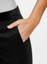 Брюки в горох с бархатным поясом oodji для женщины (черный), 11706202-1/32816/2929D