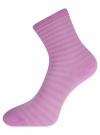 Комплект хлопковых носков в полоску (3 пары) oodji #SECTION_NAME# (фиолетовый), 57102813T3/48022/6