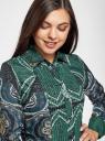 Блузка свободного силуэта с декоративными отстрочками на груди oodji #SECTION_NAME# (зеленый), 21411110/42549/6975E - вид 4