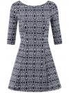 Платье из плотной ткани с принтом oodji #SECTION_NAME# (синий), 14001150-4/33038/1079E