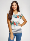 Блузка комбинированная с принтом oodji #SECTION_NAME# (белый), 21400311-6/15018/1019F - вид 2