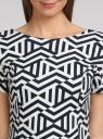 Платье трикотажное с графическим принтом oodji #SECTION_NAME# (синий), 14018001/45396/7912G - вид 4