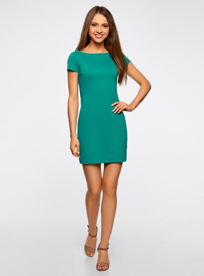 Платье трикотажное с вырезом-лодочкой oodji для женщины (зеленый), 14001117-2B/16564/6D00N