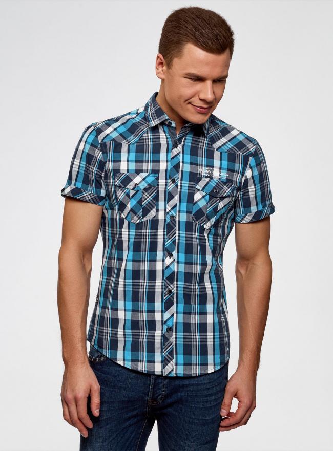 Рубашка клетчатая с нагрудными карманами oodji #SECTION_NAME# (синий), 3L410118M/34319N/796CC