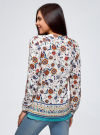 Блузка прямого силуэта с V-образным вырезом oodji #SECTION_NAME# (белый), 21400394-3M/24681/1219E - вид 3