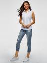 Рубашка базовая без рукавов oodji для женщины (белый), 14905001B/45510/1000N