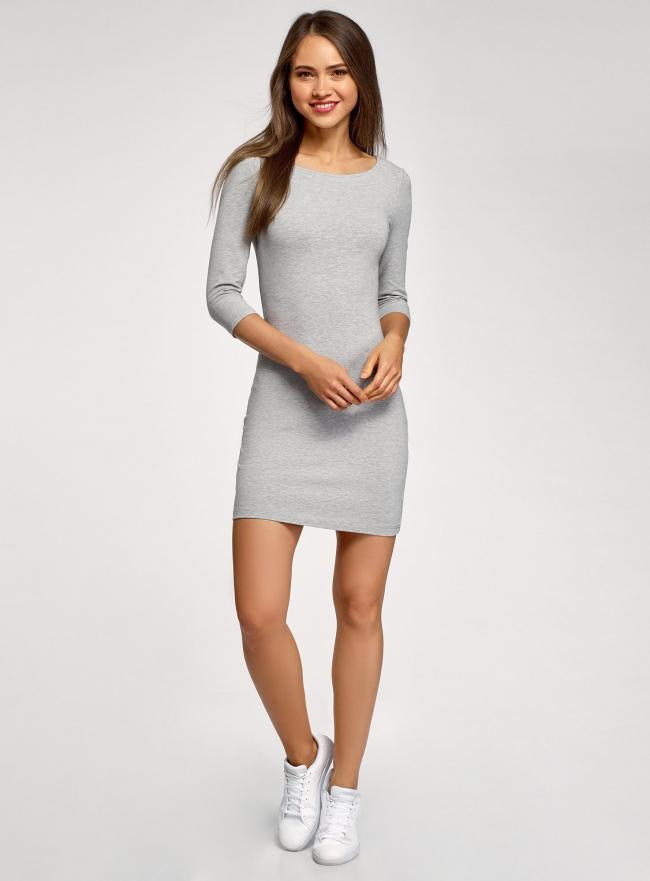 Платье трикотажное базовое oodji для женщины (серый), 14001071-2B/46148/2501M