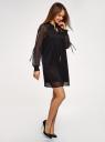 Платье шифоновое с манжетами на резинке oodji для женщины (черный), 11914001/46116/2900N