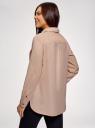 Рубашка хлопковая с нагрудными карманами oodji для женщины (розовый), 13L11009/49121/4B00N