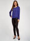 Блузка свободного силуэта с вырезом-капелькой на спине oodji #SECTION_NAME# (фиолетовый), 11411129/45192/7500N - вид 6