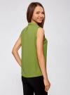 Топ из струящейся ткани с воланами oodji для женщины (зеленый), 21411108/36215/6200N - вид 3