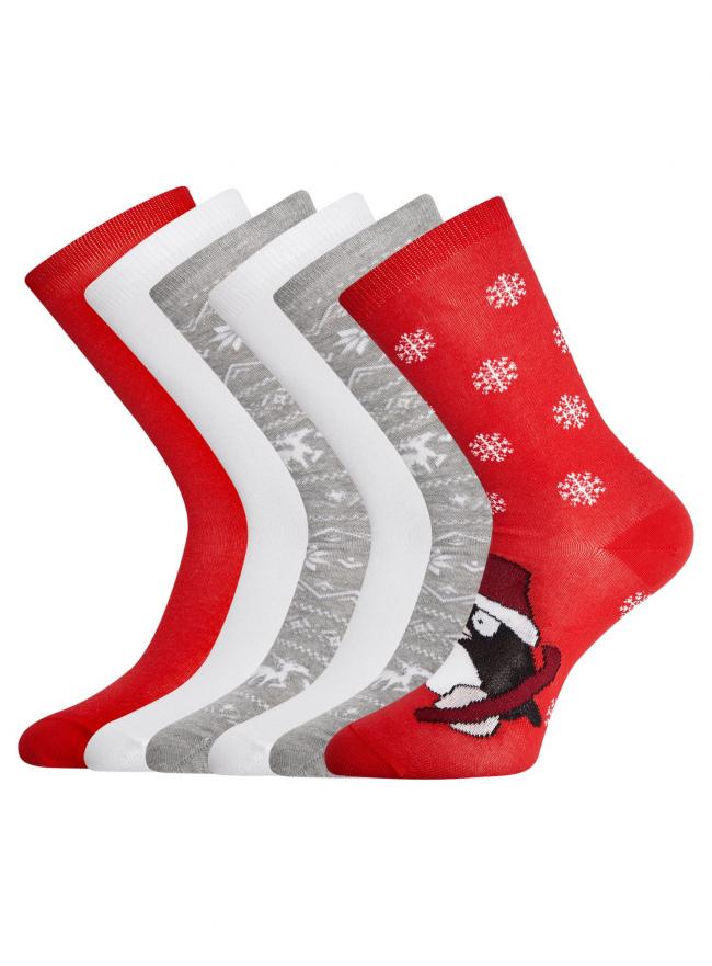 Комплект из шести пар хлопковых носков oodji #SECTION_NAME# (разноцветный), 57102902-4T6/10231/9