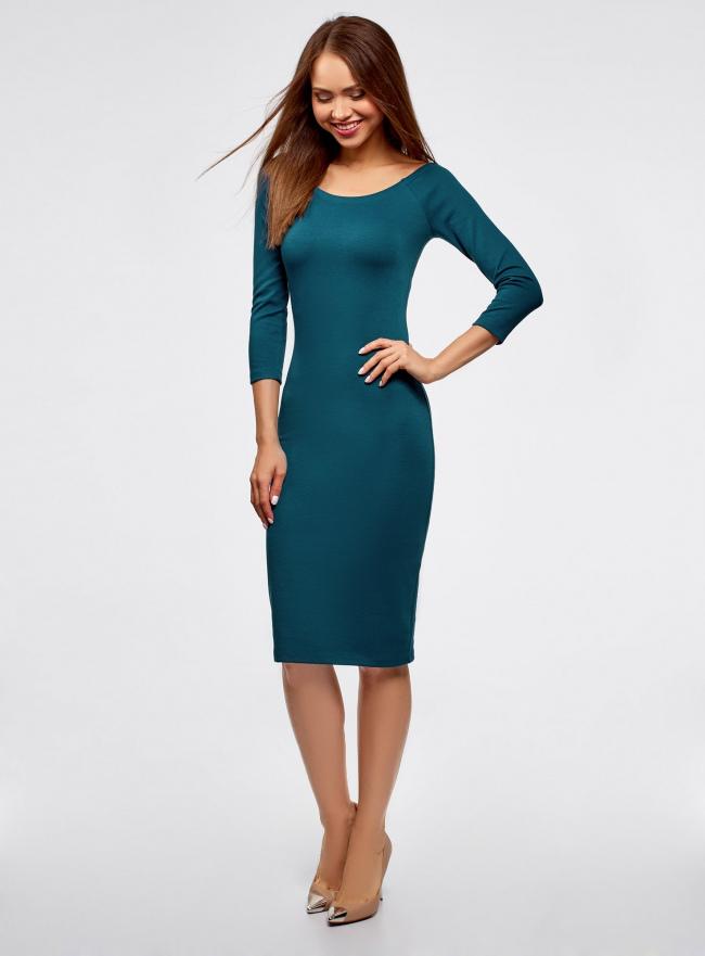Платье облегающее с вырезом-лодочкой oodji #SECTION_NAME# (зеленый), 14017001-5B/46944/6C00N