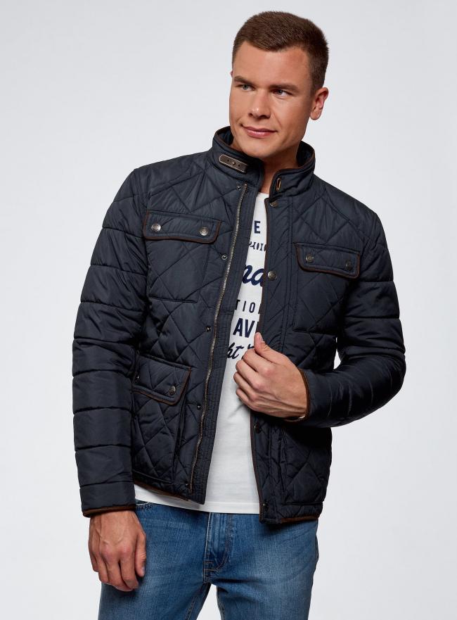 Куртка стеганая с карманами oodji для мужчины (синий), 1L111028M/34857N/7900N