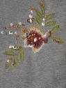 Свитшот с цветочной вышивкой oodji для женщины (серый), 14801044-2/19611/2366Z