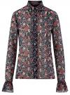 Блузка из комбинированных тканей с модными манжетами oodji #SECTION_NAME# (черный), 11411119/17288/294AF