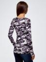 """Свитшот прямого силуэта с принтом """"милитари"""" oodji для женщины (фиолетовый), 14807031-3B/15640/8830O"""