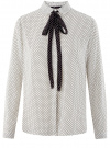 Блузка вискозная с завязками oodji #SECTION_NAME# (белый), 11411169/24681/1229D