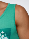 Майка хлопковая с принтом oodji #SECTION_NAME# (зеленый), 5L710007I/44135N/6510P - вид 5