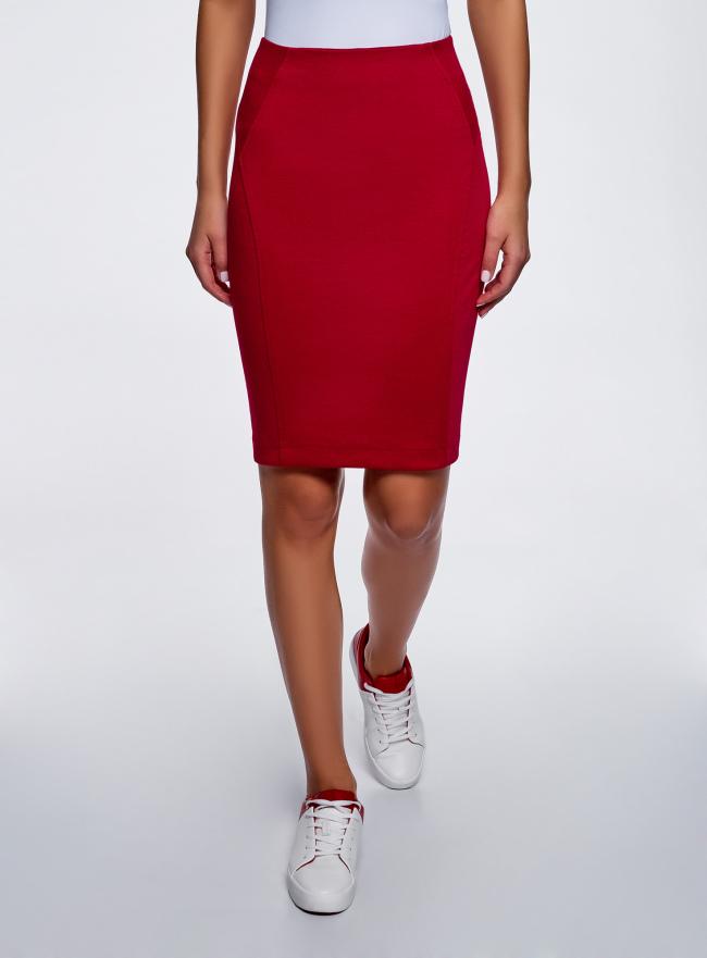Юбка-карандаш трикотажная oodji для женщины (красный), 14100068-5B/46944/4502N