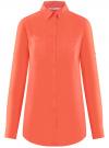Блузка с нагрудными карманами и регулировкой длины рукава oodji #SECTION_NAME# (оранжевый), 11400355-9B/42807/5500N