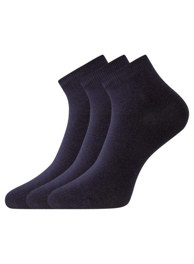 Комплект из трех пар укороченных носков oodji для женщины (синий), 57102418T3/47469/7900N
