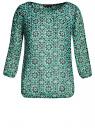 Блузка принтованная из шифона oodji для женщины (зеленый), 21404007-4/15036/6E29G
