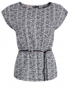 Блузка принтованная из вискозы oodji #SECTION_NAME# (белый), 11400345-1/24681/1029E