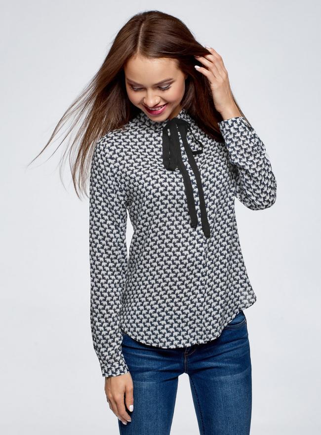 Блузка вискозная с завязками oodji #SECTION_NAME# (синий), 11411169/24681/7912A