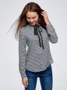 Блузка вискозная с завязками oodji #SECTION_NAME# (синий), 11411169/24681/7912A - вид 2