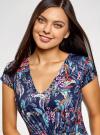 Платье макси с V-образным вырезом oodji #SECTION_NAME# (синий), 14001207/46943/7919F - вид 4
