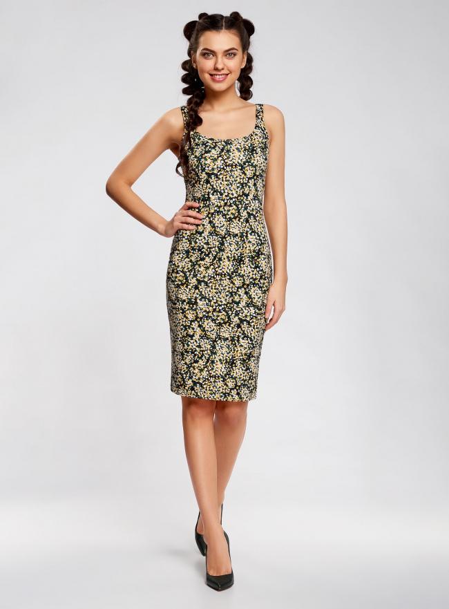 Платье-майка трикотажное oodji #SECTION_NAME# (желтый), 14015007-3B/37809/2912F