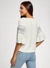 Блузка трикотажная с вышивкой на рукавах oodji #SECTION_NAME# (белый), 14207003/45201/1200N - вид 3