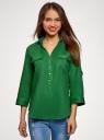 Блузка льняная с карманами oodji для женщины (зеленый), 21412145/42532/6E00N
