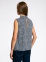 Блузка базовая без рукавов с воротником oodji #SECTION_NAME# (синий), 11411084B/43414/1079F - вид 3