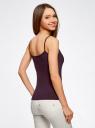 Топ трикотажный на тонких бретелях oodji для женщины (фиолетовый), 14305023-1B/46147/4900N