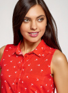 Топ вискозный с нагрудным карманом oodji для женщины (красный), 11411108B/26346/4510Q - вид 4
