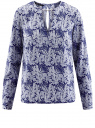 Блузка с вырезом-капелькой и металлическим декором oodji #SECTION_NAME# (синий), 21400396/38580/7512O