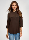 Блузка вискозная с нагрудными карманами oodji #SECTION_NAME# (коричневый), 11403225-7B/42540/3900N - вид 2