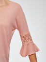 Блузка трикотажная с кружевными вставками на рукавах oodji #SECTION_NAME# (коричневый), 11308096/43222/4B00N - вид 5