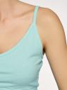 Майка на тонких бретелях в рубчик oodji для женщины (бирюзовый), 14306010/50249/7300N