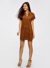 Платье из искусственной замши с завязками oodji #SECTION_NAME# (коричневый), 18L00001/45778/3100N - вид 6