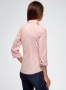 Блузка хлопковая с рукавом 3/4 oodji #SECTION_NAME# (розовый), 13K03005B/26357/4010B - вид 3