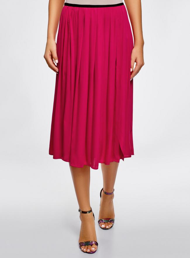 Юбка в складку с запахом oodji для женщины (розовый), 13G00003B/42662/4700N