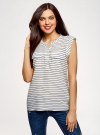 Блузка вискозная с нагрудными карманами oodji #SECTION_NAME# (белый), 21412132-5B/24681/1279S - вид 2