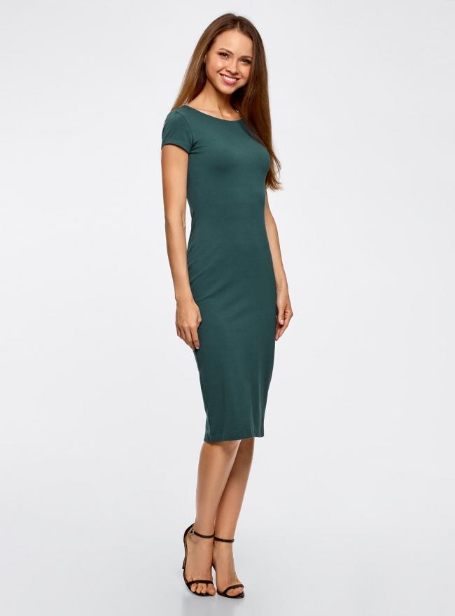 Платье миди с вырезом на спине oodji #SECTION_NAME# (зеленый), 24001104-5B/47420/6C00N
