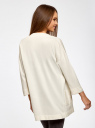Кардиган без застежки с карманами oodji для женщины (белый), 73212397B/45904/1200N