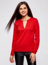 Блузка с вырезом-капелькой и металлическим декором oodji #SECTION_NAME# (красный), 21400396/38580/4500N - вид 2
